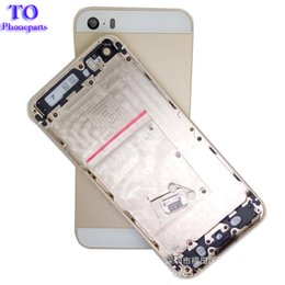 Wholesale Tray Back - 50pcs Metal Back Cover Housing Battery Door with SIM card tray +volume button +power button For iPhone 5 5G 5S Housing Cover