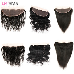 Wholesale Swiss Lace Indian Remy Closure - Brazilian Peruvian Straight Body Wave Kiky Curly Hair Lace Frontal Closure 13x4 Swiss Lace Ear To Ear Remy Human Hair