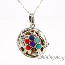 Wholesale Chakra Oils - elephant chakra healing pendants essential oil jewelry aromatherapy jewelry necklace diffuser pendant perfume bottle necklace stone openwork