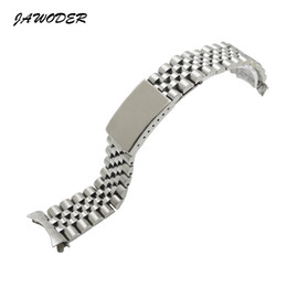 Wholesale 17 Cm - JAWODER Watchband Men Women13 17 20mm Pure Solid Stainless Steel Polishing+Brushed Watch Band Strap Deployment Buckle Bracelets for Rolex