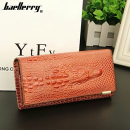 Wholesale Crocodile Leather Card Holder - Wholesale- 2016 New brand long women's wallet high quality Crocodile genuine leather purse for lady Clutch phone bag free shipping