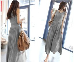 Wholesale Long Skirts Tall - New Women's Style Summer Fashion Slim Modal Loose Pleated Dress Posed Long Vest Skirt Of Tall Waist Plus Size
