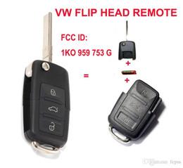 Wholesale Volkswagen Folding Key - 1K0 959 753 G Folding Flip Key Keyless Entry Remote Transmitter For VW VOLKSWAGEN SEAT 3 Button 434MHZ With ID48 Chip
