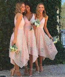 Wholesale Red Chiffon Irregular Dress - 2017 New Style Elegant Tea Length Blush Pink Lace Bridesmaid Dress Irregular Hem V Neck Maid of Honor Country Wedding Guest Gowns