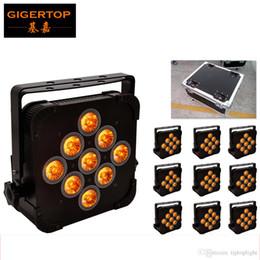 Caso de lata de par online-TIPTOP 9 * 15W Led Par Can DJ Lighting 140W Flat 5 in 1 RGBWA 5/9 Channels DMX 512 Aluminum Case Disco Lighting Flightcase Pack 10 en 1