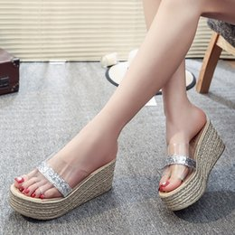 Wholesale Large Gold Sequin Fabric - Fish mouth transparent fashion show thin sequins lazy a line slipper large bottom platform wedge heel women summer cool slippers