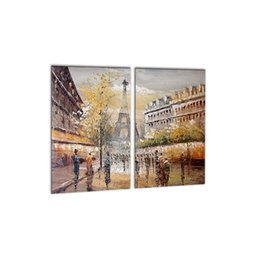 Wholesale Paris Canvas Wall Art - 2 PCS Modern Wall Art Picture Paris Road Canvas Painting Tour Eiffel Landscape Spray Print Decorations for Wall