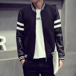 Wholesale Striped Leather Jackets Men - Wholesale- New Fashion Jacket Men Patchwork Leather Sleeve Baseball Collar Jacket Coat Male Striped Autumn Windbreaker Bomber Jackets Men
