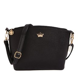 Wholesale Imperial Gold - Wholesale- 2017 Hot Sold Mini Women Messenger Bags Shell Shaped Cross Pattern Good Quality Women Bag With Imperial Crown Nov23
