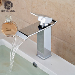 Wholesale Waterfall Faucet Taps - Wholesale- Free Shipping Wholesale And Retail Chrome Finish Waterfall Bathroom Faucet Bathroom Basin Mixer Tap with Hot and Cold Water