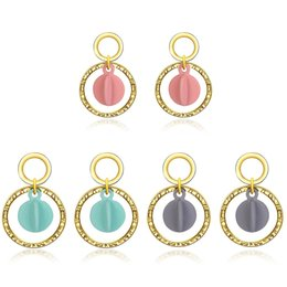 Wholesale Tin Lanterns Wholesale - Gold Plated Geometric Round circle Stud Earrings Alloy large circle hanging stud Resin Lantern Charm statement Earrings Brand Jewelry LXE010
