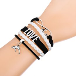 Wholesale Leather Double Layers Bracelet - Multi-Layer Woven Bracelet With Antique Silver Plated Double Dolphin Bangle Pendant White and Pink Leather Adjustable Bracelets