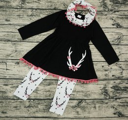 Wholesale Wholesale Girls Christmas Outfits - fall baby girl clothes kids boutique clothing sets girls scarf + tassel long sleeve dress black top + pants childrens outfits 3 piece cotton