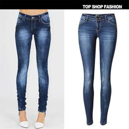 Wholesale 34 Size Breast Women - Wholesale- SKINNY JEANS Woman 2016 New Fashion Ladies Single Breasted Slim Pencil Pants Denim Skinny Jeans Size 34-44