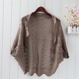 Wholesale Thin Long Short Sleeve Cardigan - Wholesale- 2015 new autumn brand women Batwing Sleeve cardigans Three Quarter Short poncho knitted sweater sun protection coats