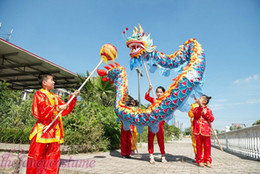 Wholesale Costume Chinese Dance - Size 5 # 4m-19m blue red silk print fabric students Chinese DRAGON DANCE ORIGINAL Folk mascot costume china special culture holiday party