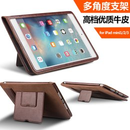 Wholesale Iphone Flip Strap - 5197-103 High Quality Leather Case Flip Cover for iPad mini   mini2   mini3 stand function cover with handle strap