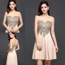Wholesale Embroidery Only - In Stock Only $40 Elegant Champagne Sheer Neck Short Homecoming Dresses Colorful Embroidery Appliqued Satin Mini Prom Dresses Cheap CPS645