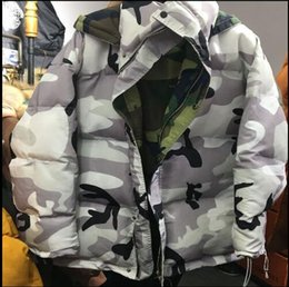 Wholesale Parks Prints - 2017 new style cooperation camo reversible garment camo snow-covered park cotton padded winter garment sweet white camouflage contrast color