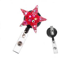Wholesale China Reels - Coloful Star Shape Rhinestone Retractable Badge Reel  ID Badge Holder