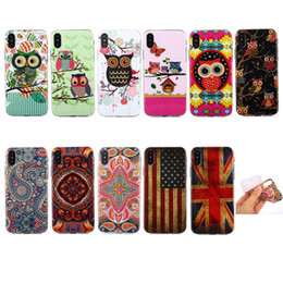 Wholesale Uk Iphone Case - Soft TPU Gel Case For Iphone X 8 8+ 7 4.7  Plus 5.5 6 6S 6 Plus Owl UK USA Flag Flower Luxury Cute Family Cartoon Lovely Phone Cover Skin