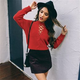 Wholesale Low Cut V Neck Tops - 2017092225 Autumn Women sexy v neck knitted sweater bandage Plus size pullover lace up Elastic low cut cross bodycon long sleeve casual top