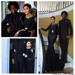 Wholesale Dark Green Mermaid Prom Dresses - 2017 Black New South African Mermaid Prom Dresses Long Sleeves High Neck Gold Appliqued Burgundy 2K17 Evening Reception Dresses Cheap Long