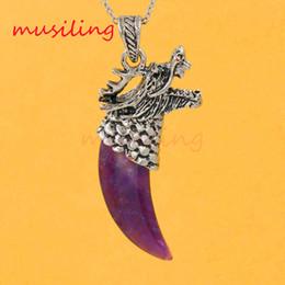 Wholesale Dragon Teeth - Dragon Head Tooth-shape Pendants Necklace Chain Natural Gem Stone Pendant Amethyst Malachite etc Vintage Charms Jewelry Chakra Amulet