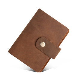 Wholesale male leather card cases - Hasp Classical 26 Card Bit Slots Men's Credit Card Holder Vintage Genuine Leather Men ID Holders Cases For Male Wholesale Price