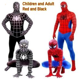 Wholesale Adult Female Spider Costume - Red Black Spiderman Costume Spider Man Suit Spider-man Costumes Adults Children Kids Spider-Man Cosplay Clothing