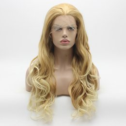 Wholesale Half Lace Wig Cheap - Iwona Hair Cheap Wavy Long Honey Blonde Root Light Blonde Ombre Wig 12#C105 Half Hand Tied Heat Resistant Synthetic Lace Front Wig