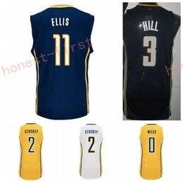 Wholesale Cj Blue - High Quality 3 George Hill Jersey 50 Tyler Hansbrough Shirt 0 C.J. CJ Miles 11 Monta Ellis 2 Rodney Stuckey Fashion Yellow Navy Blue White