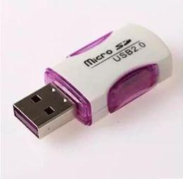 UK flash led china - High Quality USB 2.0 Card Reader T-flash card reader micro sd card reader adapter with LED light fast Shipping