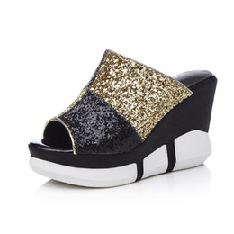 Wholesale Cheap Gold Wedges - 2017 Cheap Summer Style Slippers Sexy Open-toe Women Mules 10 CM Wedges With Platform Sandals Casual Shoe Woman Box Packing 17-78
