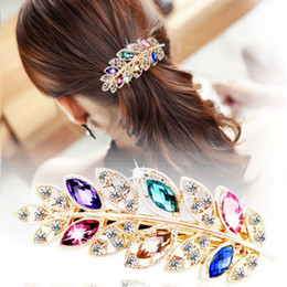 Wholesale Leaf Ornaments Wholesale - Hair Clip Leaf Crystal Rhinestone Barrette Hairpin Headband Hairgrips Jewelry Bijouterie Trinket Ornament accessories For Woman