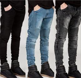Wholesale Hiphop Jeans For Men - Mens Skinny jeans men new Runway Distressed slim elastic jeans denim Biker jeans hiphop pants Washed black jeans for men blue hight quality