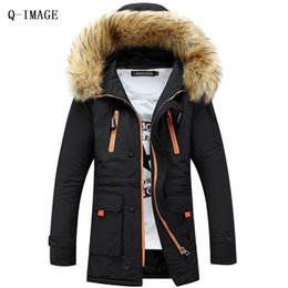 Wholesale wadded white jacket men - Wholesale- winter men cotton-padded jacket male wadded hooded teenage outwear patchwork fur collar jacket thickening plus size Parkas