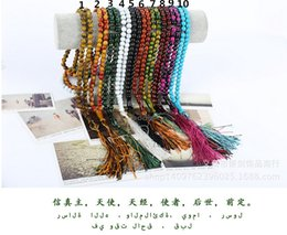 Wholesale Rosary Beads Buddhist - Tasbih Prayer Beads Rosary Acrylic Prayer Cap33*8mm for Muslim Islamic Buddhist Mala Lucky Bracelet Prayer Workship Approx with 10 Colors