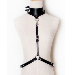 Wholesale Sexy Harness Straps - Wholesale- GARTER COLLAR HARNESS, minimal & sleek detachable adjustable sexy body harness with leather straps fasten at waist & around neck