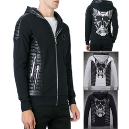 Wholesale Sweatshirt Zip Cardigan - Cardigan Sweatshirt Man Slim Fit Hood Full Zipper Embroidery Crystal Skull Hoodie Leather Patches Mens Sweat Zip Jumper