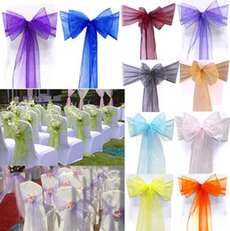 Wholesale Organza Sashes Decor - Organza Chair Cover Sash Bow Wedding Party Reception Banquet Decor Beautiful Organza Bows For Chair OOA2242