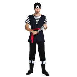 Wholesale Pirate Men Costume - New Arrival Halloween Male Pirate Costumes Pirates of Caribbean Cosplay Clothes Masquerade Disfraces Stage Performance SetS
