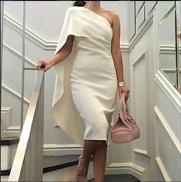 Wholesale Embroidered One Shoulder Evening Dress - vestido festa free shipping ivory short Evening Dresses 2017 prom dresses high neck Evening Gowns one shoulder Celebrity dress