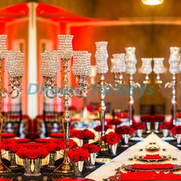 Wholesale Tall Crystal Candle Holders - 3ft tall Crystal Tulip Silver Flower Blossom Home decor 5 arm Candelabras Tea Light Votive Candle Holder