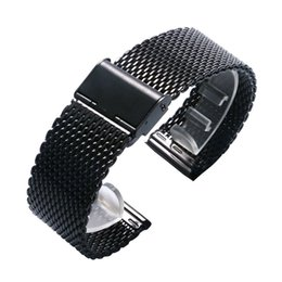 Wholesale mesh bracelet 22mm - Wholesale- Black Mesh Design 20 22MM Stainless Steel Watch Strap Band For Business Smart Watches With 2 Spring Bars