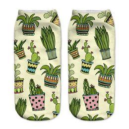 Wholesale Cartoon Slippers Women - Wholesale- NO415 3D Printed Women Socks harajuku Cartoon cactus in pot Low Ankle Calcetines Meia Sokken Casual Novelty Sock Slippers