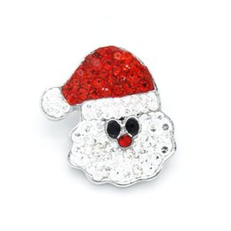 Wholesale Ring Charm Necklace - Wholesale- 10Pcs Lot Random 20 mm Beautiful Christmas Santa Claus Alloy Bottom Snap Button Jewelry Fit Ginger Snaps Necklace SBLR485-MSIA
