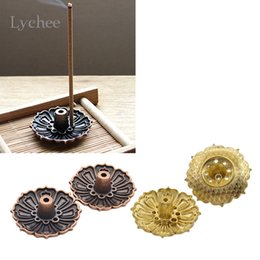 Wholesale Flower Plugs - Wholesale- Lychee 2 Pieces Lotus Flowers Pattern Incense Burner Stick Holder Incense Base Plug Home Decoration