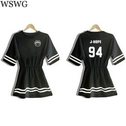 Wholesale Korea Women Dress - Wholesale-2016 Korea Women T-shirt Dress Letter Print BTS Shirt For Lady Tops Tee Hipster Female Long T shirts Black White T shirt 61698