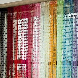 Wholesale Sheer Curtains Tassels - Line String Door Tassel Divider Sheer Curtains for living room Valance 11 Colors Organza Curtains